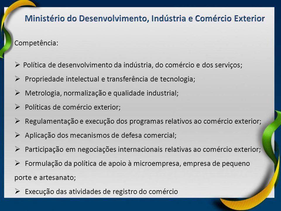 Competência: Política de desenvolvimento da indústria, do comércio e dos serviços; Propriedade intelectual e transferência de tecnologia; Metrologia,