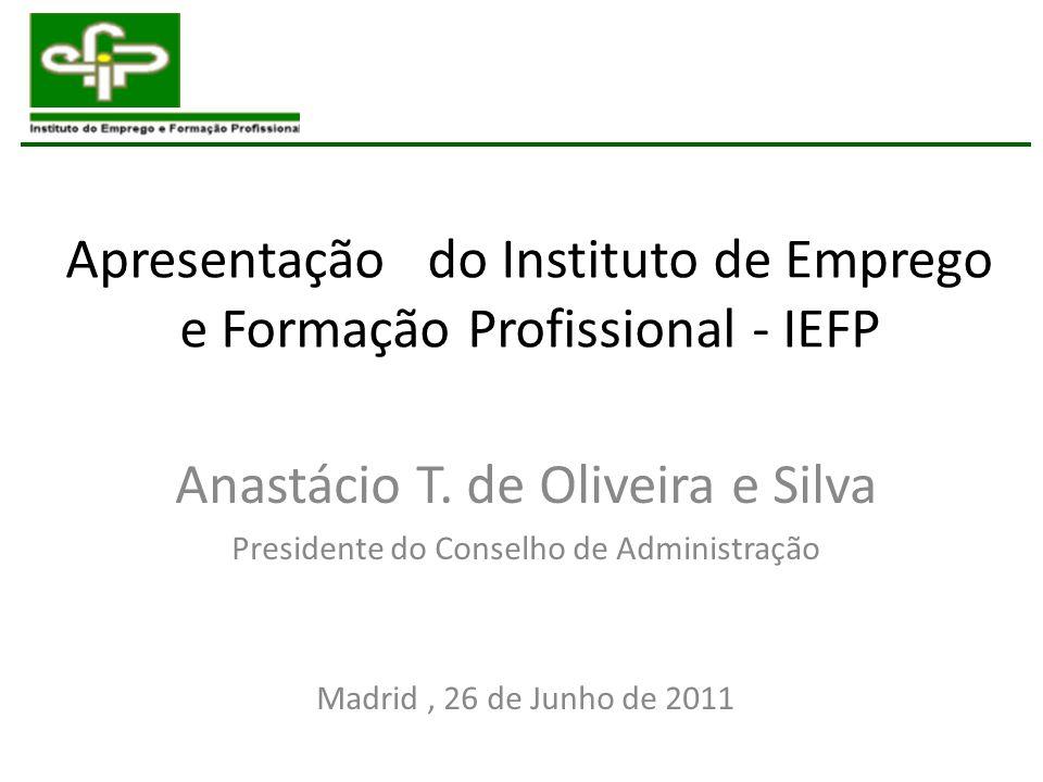 Apresentação do Instituto de Emprego e Formação Profissional - IEFP Anastácio T. de Oliveira e Silva Presidente do Conselho de Administração Madrid, 2