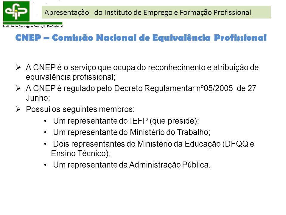 CNEP – Comissão Nacional de Equivalência Profissional A CNEP é o serviço que ocupa do reconhecimento e atribuição de equivalência profissional; A CNEP