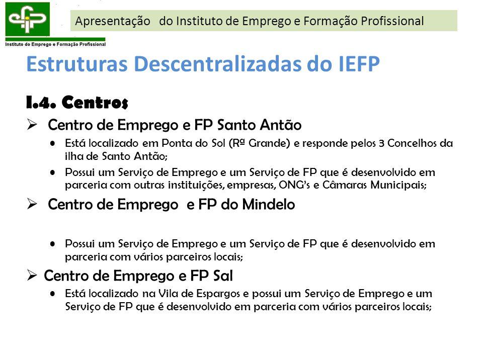 I.4. Centros Centro de Emprego e FP Santo Antão Está localizado em Ponta do Sol (Rª Grande) e responde pelos 3 Concelhos da ilha de Santo Antão; Possu