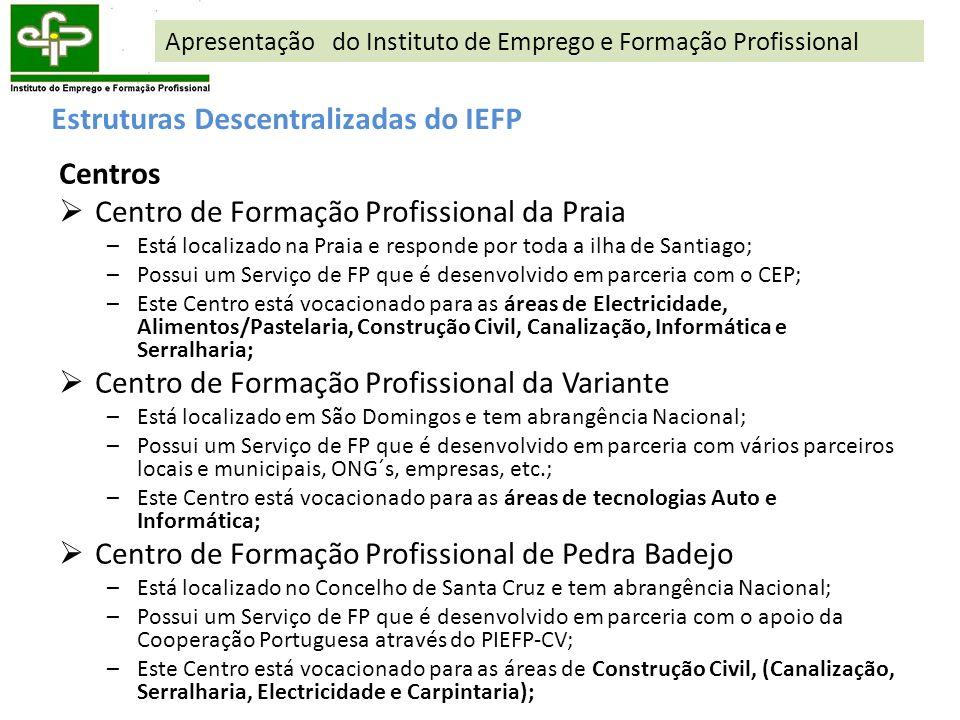 Estruturas Descentralizadas do IEFP Centros Centro de Formação Profissional da Praia –Está localizado na Praia e responde por toda a ilha de Santiago;