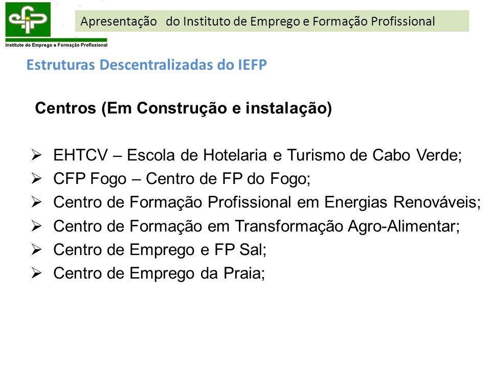 Estruturas Descentralizadas do IEFP Centros (Em Construção e instalação) EHTCV – Escola de Hotelaria e Turismo de Cabo Verde; CFP Fogo – Centro de FP