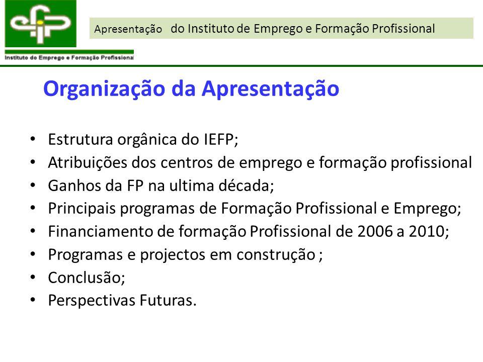 Estrutura orgânica do IEFP; Atribuições dos centros de emprego e formação profissional Ganhos da FP na ultima década; Principais programas de Formação