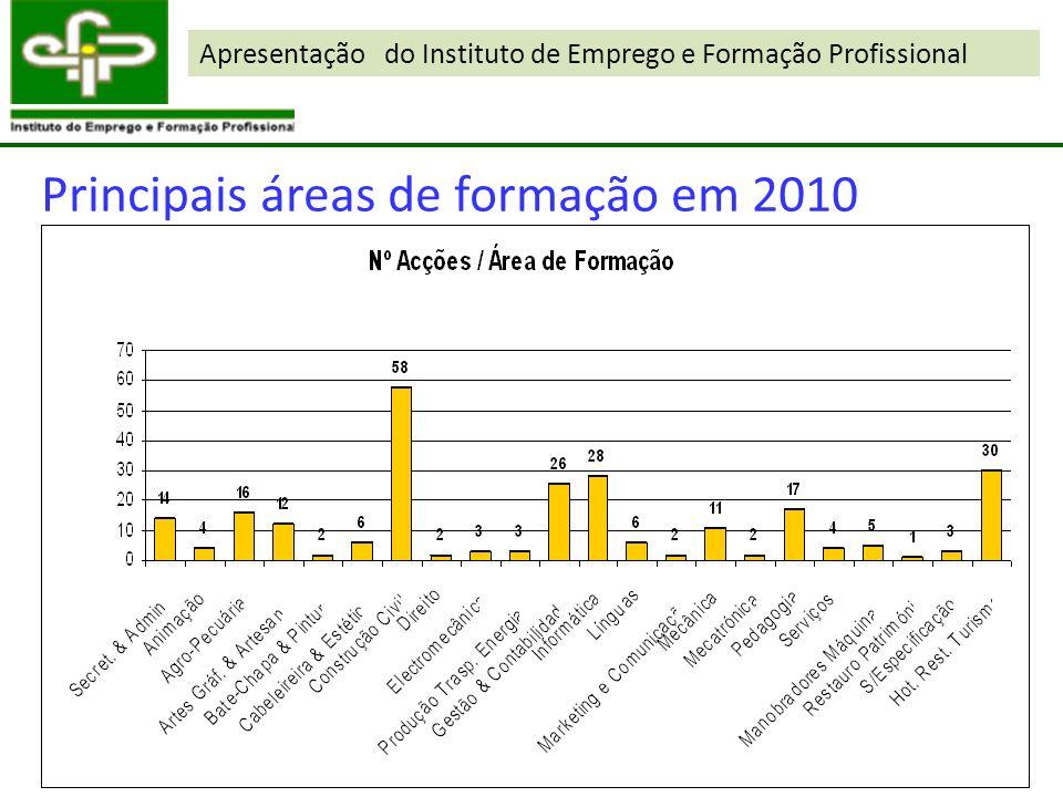 Apresentação do Instituto de Emprego e Formação Profissional Principais áreas de formação em 2010