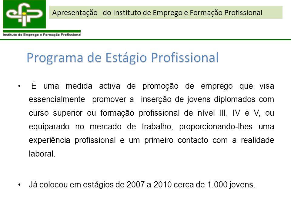 É uma medida activa de promoção de emprego que visa essencialmente promover a inserção de jovens diplomados com curso superior ou formação profissiona