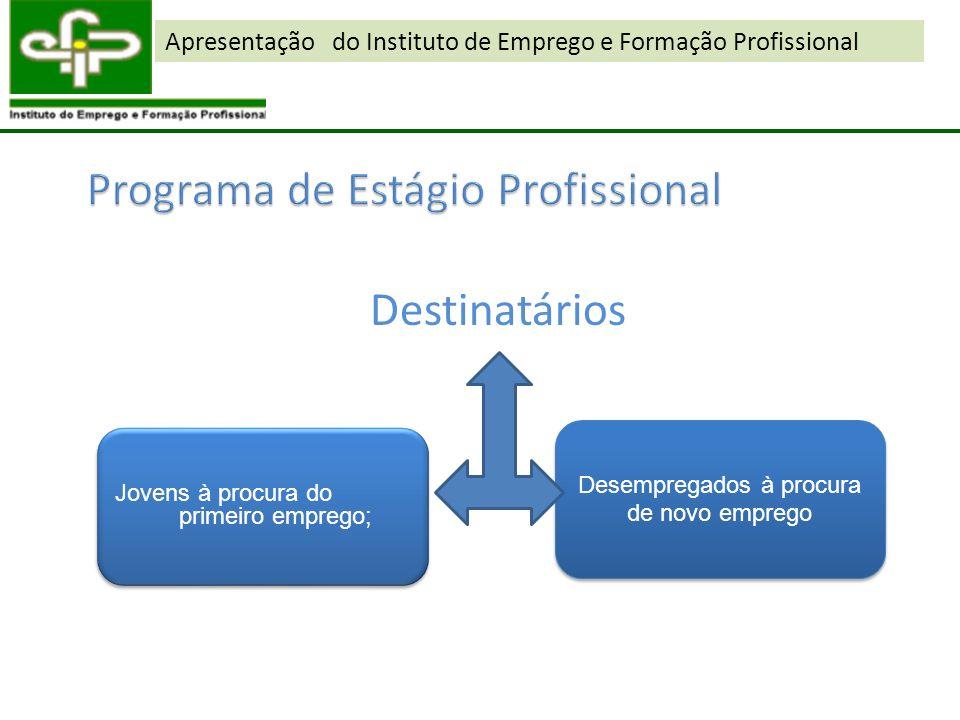 Destinatários Jovens à procura do primeiro emprego; Desempregados à procura de novo emprego Apresentação do Instituto de Emprego e Formação Profission
