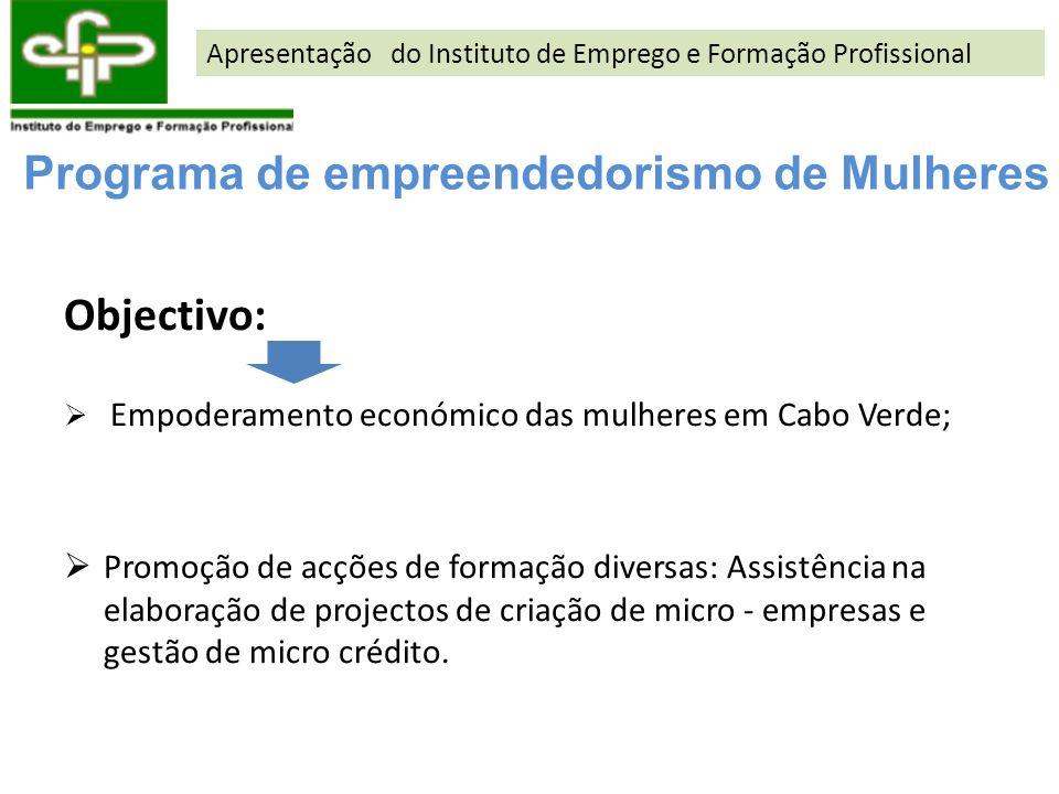 Objectivo: Empoderamento económico das mulheres em Cabo Verde; Promoção de acções de formação diversas: Assistência na elaboração de projectos de cria