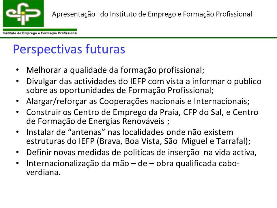 Perspectivas futuras Melhorar a qualidade da formação profissional; Divulgar das actividades do IEFP com vista a informar o publico sobre as oportunid