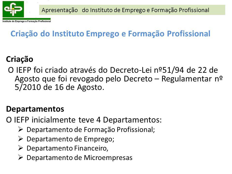 Criação do Instituto Emprego e Formação Profissional Criação O IEFP foi criado através do Decreto-Lei nº51/94 de 22 de Agosto que foi revogado pelo De