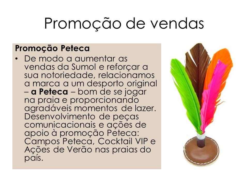 Promoção Peteca De modo a aumentar as vendas da Sumol e reforçar a sua notoriedade, relacionamos a marca a um desporto original – a Peteca – bom de se