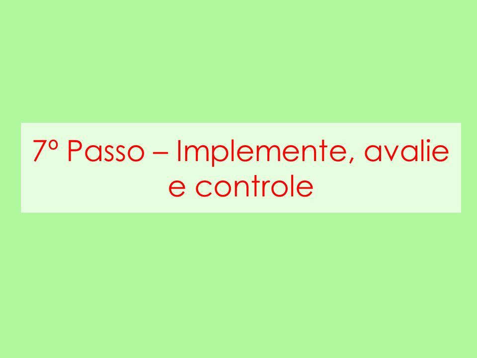 7º Passo – Implemente, avalie e controle