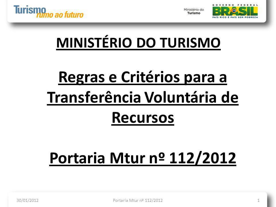OBJETIVO DA OFICINA 30/01/2013Portaria Mtur nº 112/20122 Breve histórico sobre as normas aplicáveis às transferências voluntárias de recursos; Regras gerais; e Aprofundamento quanto aos programas de eventos e infraestrutura turística.