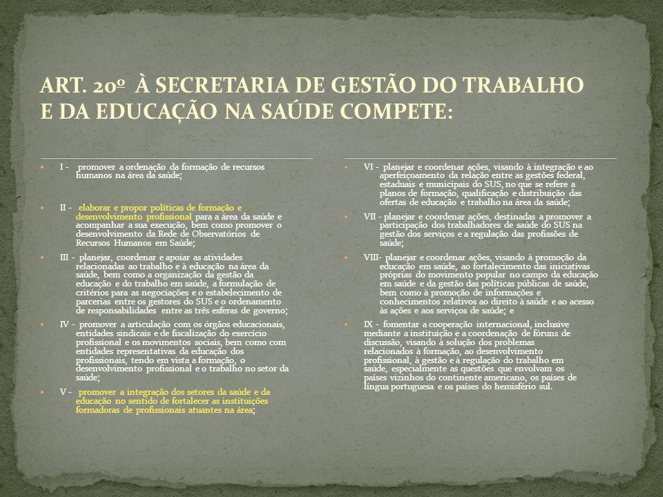 ART. 20 o À SECRETARIA DE GESTÃO DO TRABALHO E DA EDUCAÇÃO NA SAÚDE COMPETE: I - promover a ordenação da formação de recursos humanos na área da saúde
