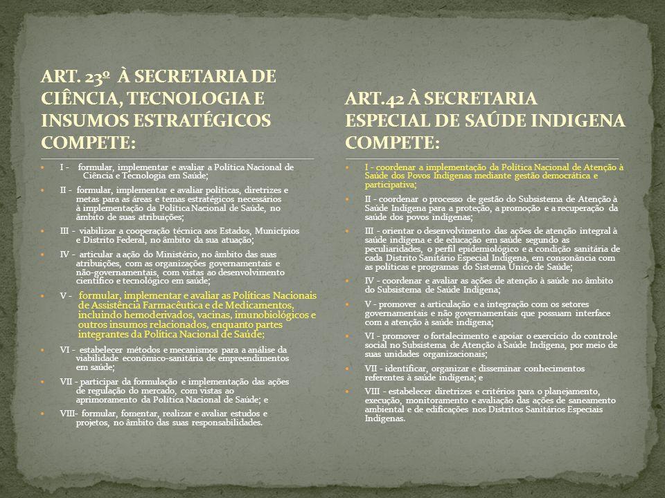 ART. 23 o À SECRETARIA DE CIÊNCIA, TECNOLOGIA E INSUMOS ESTRATÉGICOS COMPETE: I - formular, implementar e avaliar a Política Nacional de Ciência e Tec