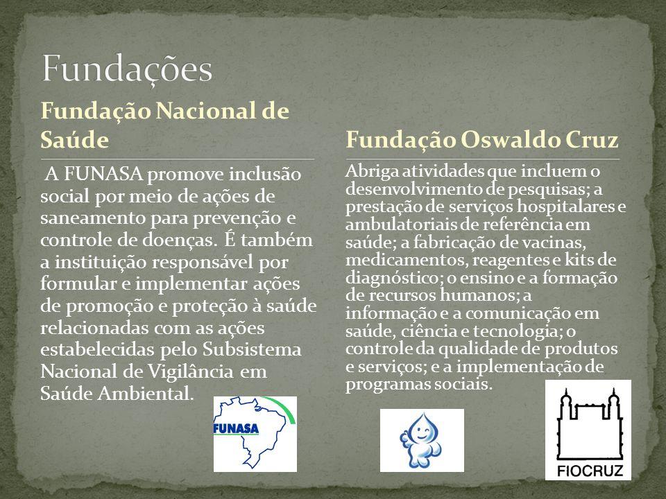 Fundação Nacional de Saúde A FUNASA promove inclusão social por meio de ações de saneamento para prevenção e controle de doenças. É também a instituiç