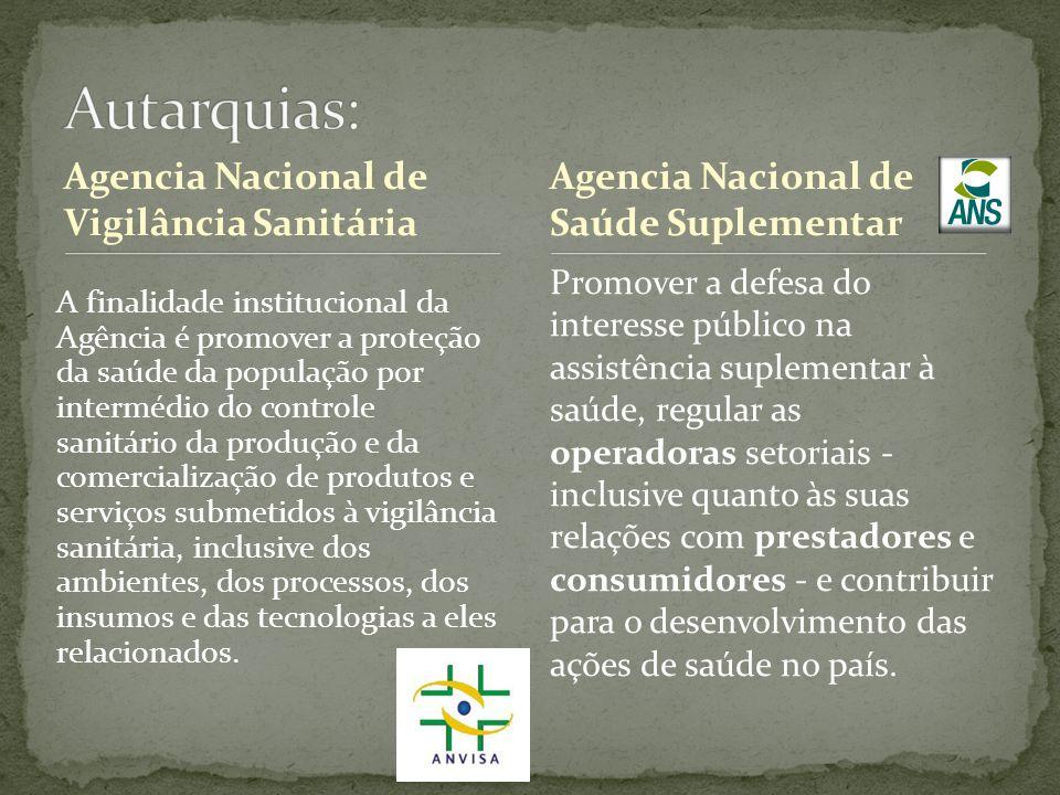 Agencia Nacional de Vigilância Sanitária A finalidade institucional da Agência é promover a proteção da saúde da população por intermédio do controle
