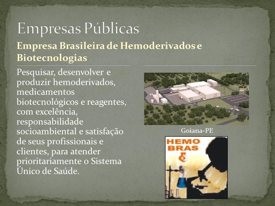 Empresa Brasileira de Hemoderivados e Biotecnologias Pesquisar, desenvolver e produzir hemoderivados, medicamentos biotecnológicos e reagentes, com ex