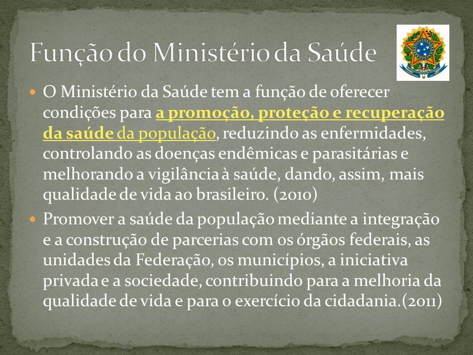 O Ministério da Saúde tem a função de oferecer condições para a promoção, proteção e recuperação da saúde da população, reduzindo as enfermidades, con
