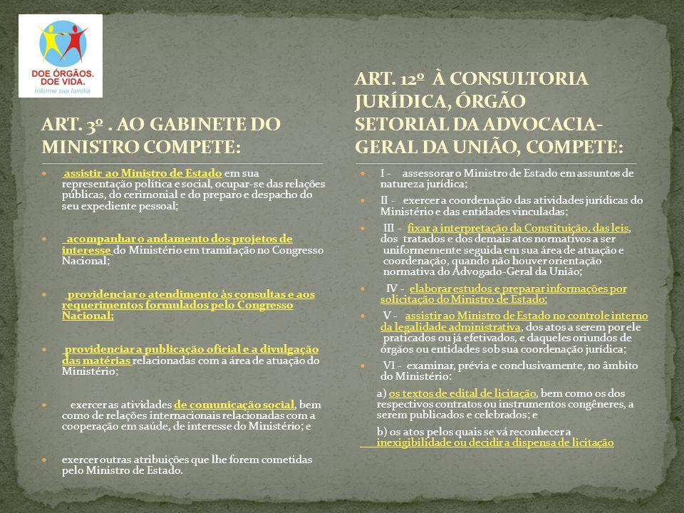 ART. 3 o. AO GABINETE DO MINISTRO COMPETE: assistir ao Ministro de Estado em sua representação política e social, ocupar-se das relações públicas, do