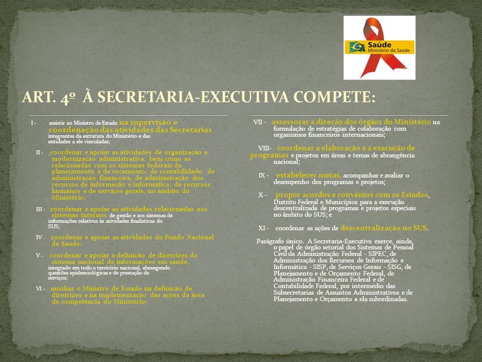 ART. 4 o À SECRETARIA-EXECUTIVA COMPETE: I - assistir ao Ministro de Estado na supervisão e coordenação das atividades das Secretarias integrantes da