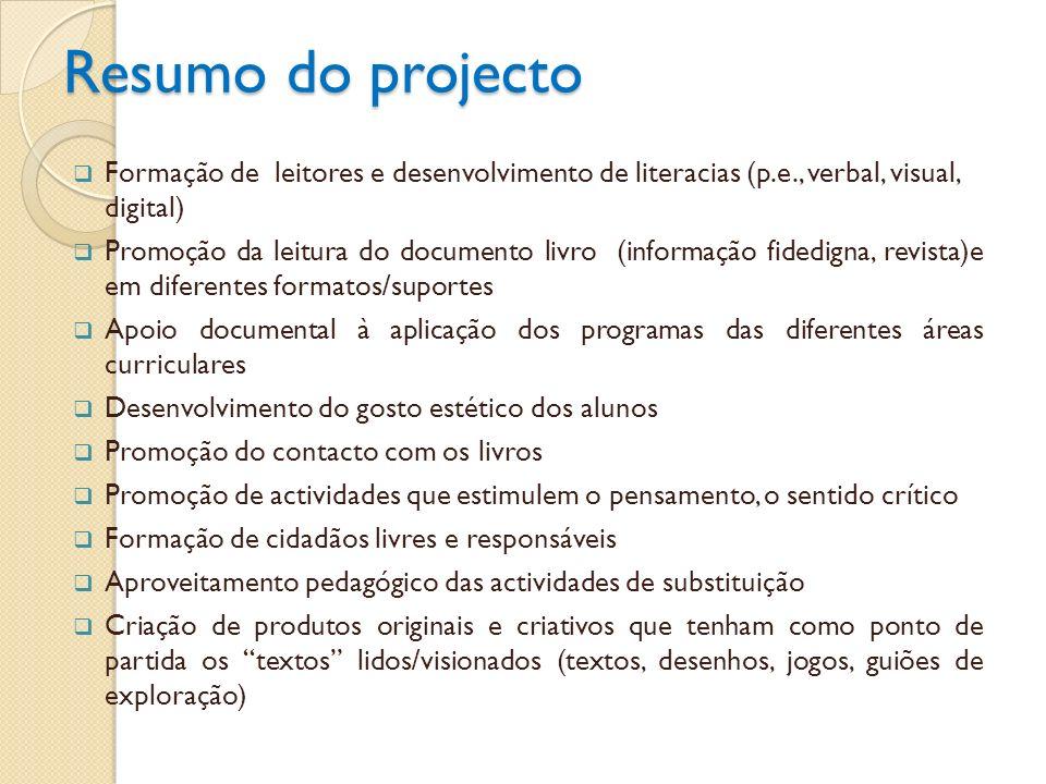 Objectivos do projecto incentivar o gosto pela leitura, reforçando o fundo documental da BE-CRE com os títulos propostos pelo PNL (leitura recreativa e autónoma), no 3º ciclo do Ensino Básico promover a prática da leitura, em diferentes formatos/suportes na sala de aula, envolvendo professores de todas as disciplinas; reforçar práticas de leitura, em diferentes suportes, envolvendo professores de todas as disciplinas; desenvolver o gosto pela leitura dos textos de literatura em língua portuguesa e da literatura universal, como forma de ampliar o conhecimento do mundo; desenvolver a capacidade de compreensão e de interpretação de textos/discursos com forte dimensão simbólica (incluindo imagens, excertos musicais); incentivar a produção de materiais que contribuam para a animação do livro e da leitura, recorrendo às NTIC.