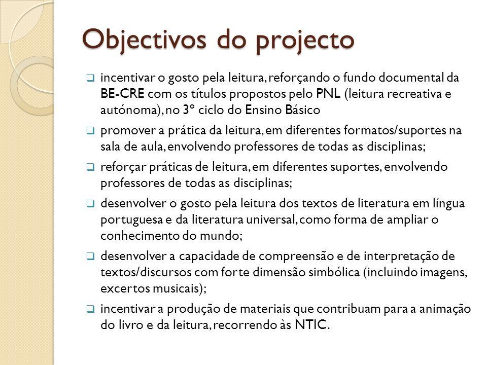 Objectivos do projecto incentivar o gosto pela leitura, reforçando o fundo documental da BE-CRE com os títulos propostos pelo PNL (leitura recreativa