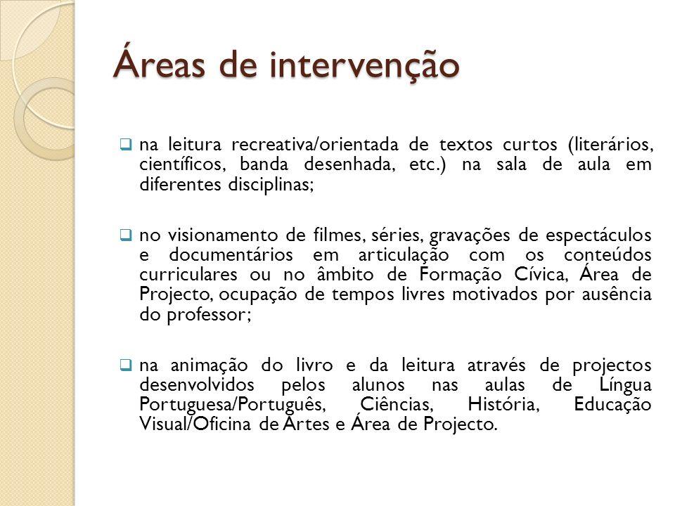 Áreas de intervenção na leitura recreativa/orientada de textos curtos (literários, científicos, banda desenhada, etc.) na sala de aula em diferentes d