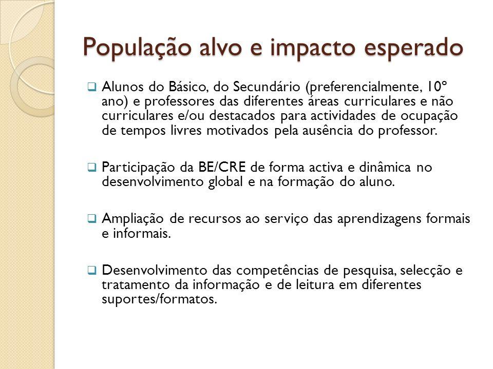 População alvo e impacto esperado Alunos do Básico, do Secundário (preferencialmente, 10º ano) e professores das diferentes áreas curriculares e não c