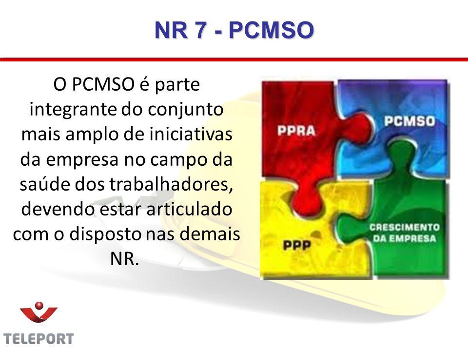 NR 7 - PCMSO O PCMSO é parte integrante do conjunto mais amplo de iniciativas da empresa no campo da saúde dos trabalhadores, devendo estar articulado