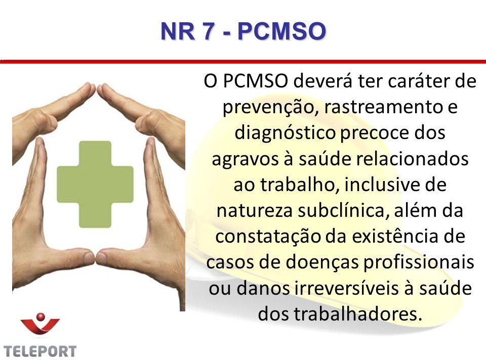 NR 7 - PCMSO O PCMSO deverá ter caráter de prevenção, rastreamento e diagnóstico precoce dos agravos à saúde relacionados ao trabalho, inclusive de na