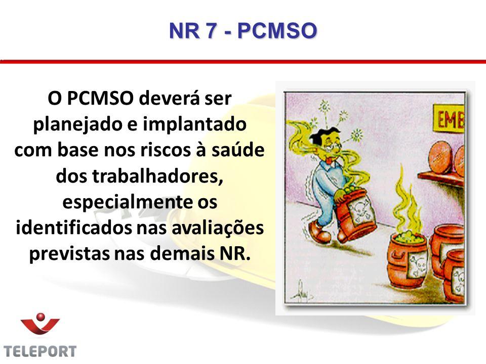 NR 7 - PCMSO O PCMSO deverá ser planejado e implantado com base nos riscos à saúde dos trabalhadores, especialmente os identificados nas avaliações pr