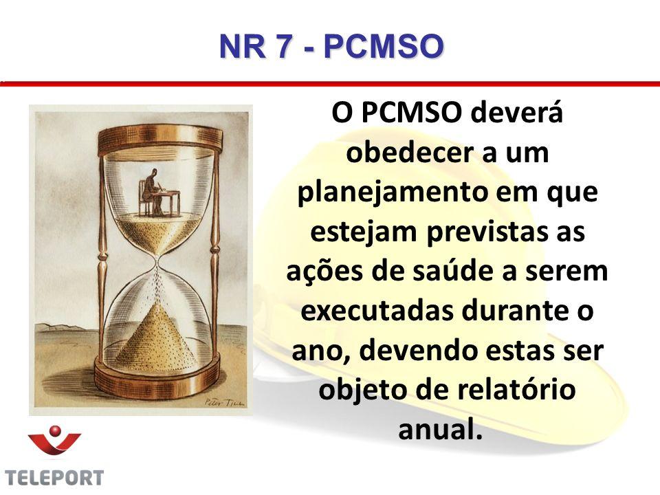 O PCMSO deverá obedecer a um planejamento em que estejam previstas as ações de saúde a serem executadas durante o ano, devendo estas ser objeto de rel