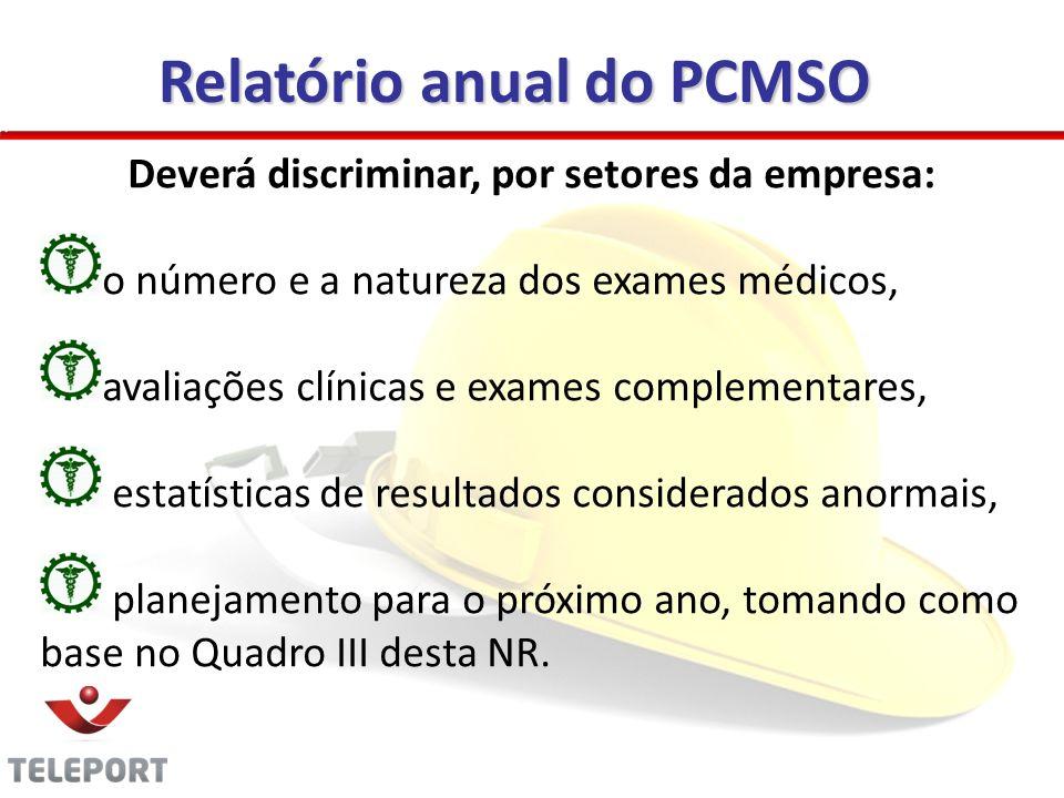 Deverá discriminar, por setores da empresa: o número e a natureza dos exames médicos, avaliações clínicas e exames complementares, estatísticas de res