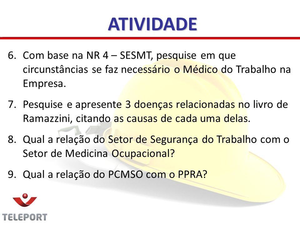 ATIVIDADE 6.Com base na NR 4 – SESMT, pesquise em que circunstâncias se faz necessário o Médico do Trabalho na Empresa. 7.Pesquise e apresente 3 doenç
