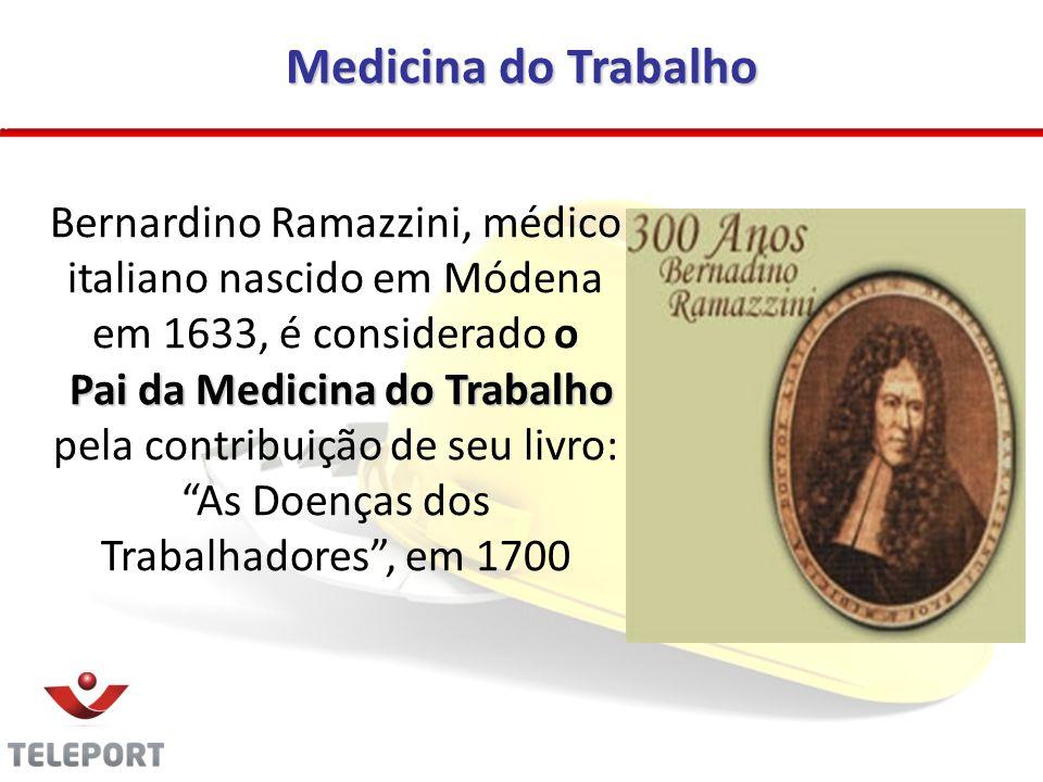 Medicina do Trabalho Bernardino Ramazzini, médico italiano nascido em Módena em 1633, é considerado o Pai da Medicina do Trabalho pela contribuição de