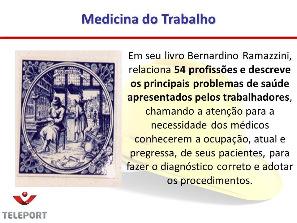 Medicina do Trabalho Em seu livro Bernardino Ramazzini, relaciona 54 profissões e descreve os principais problemas de saúde apresentados pelos trabalh