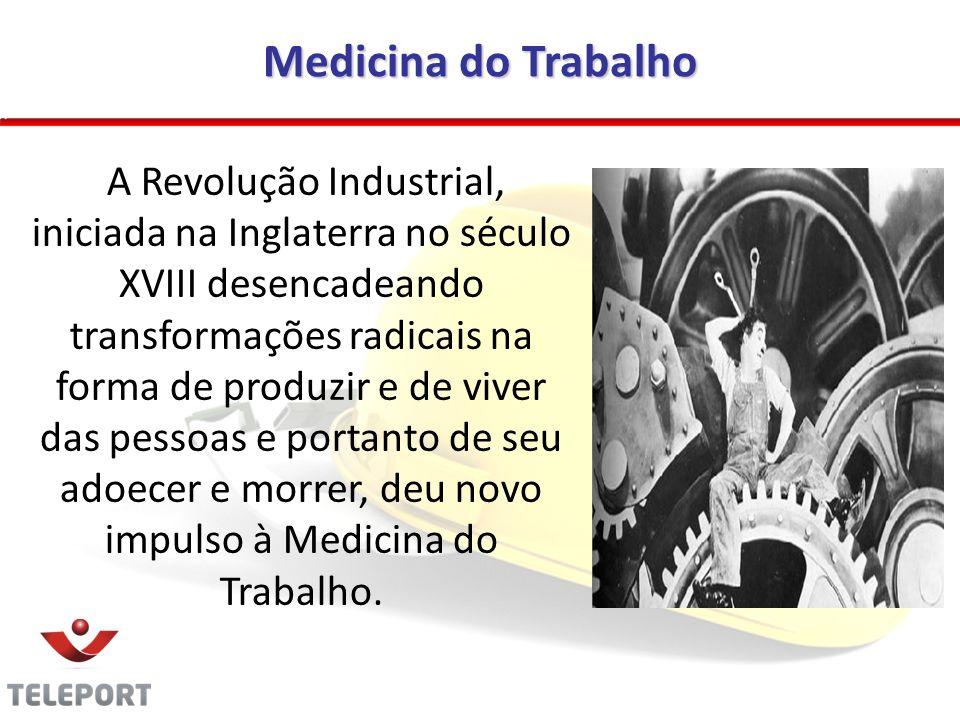 Medicina do Trabalho A Revolução Industrial, iniciada na Inglaterra no século XVIII desencadeando transformações radicais na forma de produzir e de vi