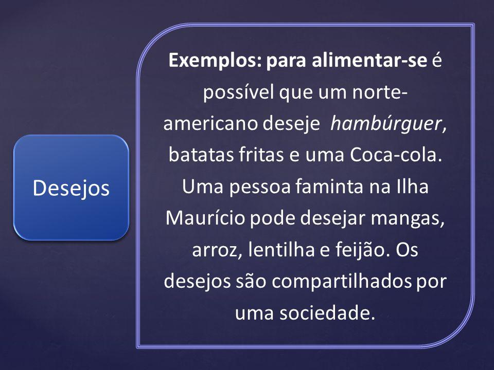 Exemplos: para alimentar-se é possível que um norte- americano deseje hambúrguer, batatas fritas e uma Coca-cola. Uma pessoa faminta na Ilha Maurício