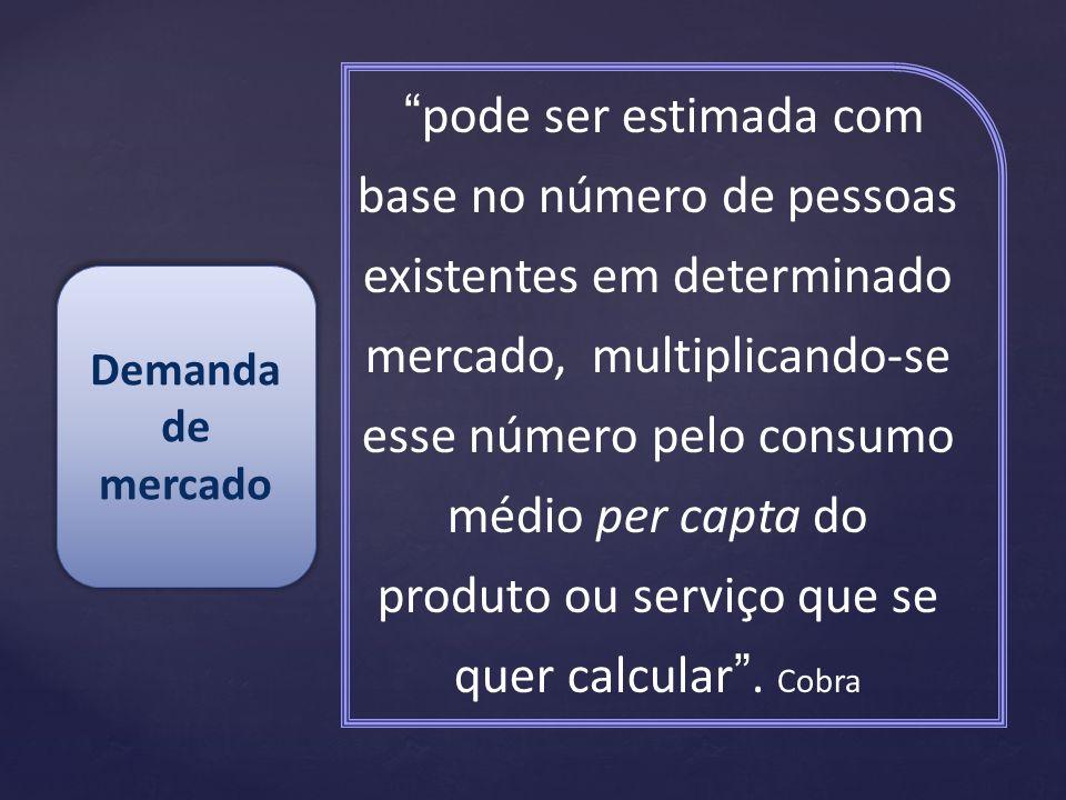 pode ser estimada com base no número de pessoas existentes em determinado mercado, multiplicando-se esse número pelo consumo médio per capta do produto ou serviço que se quer calcular.