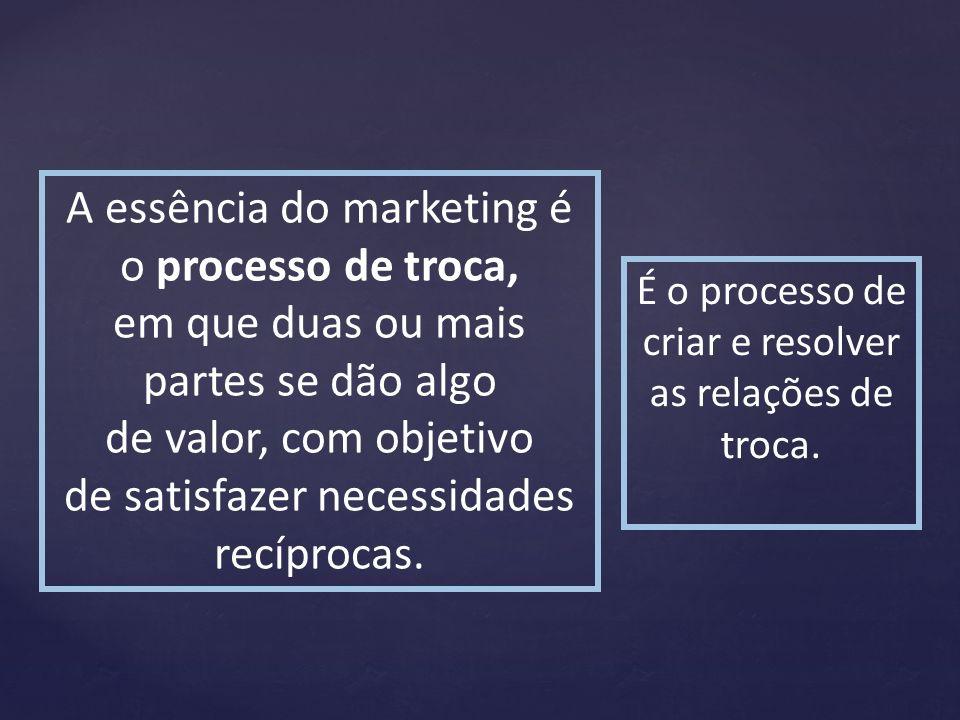 A essência do marketing é o processo de troca, em que duas ou mais partes se dão algo de valor, com objetivo de satisfazer necessidades recíprocas. É