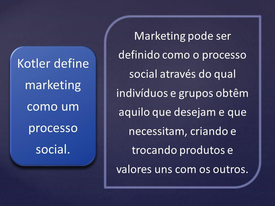 Marketing pode ser definido como o processo social através do qual indivíduos e grupos obtêm aquilo que desejam e que necessitam, criando e trocando p