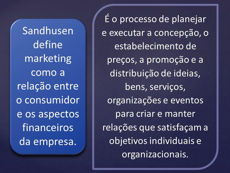 É o processo de planejar e executar a concepção, o estabelecimento de preços, a promoção e a distribuição de ideias, bens, serviços, organizações e eventos para criar e manter relações que satisfaçam a objetivos individuais e organizacionais.