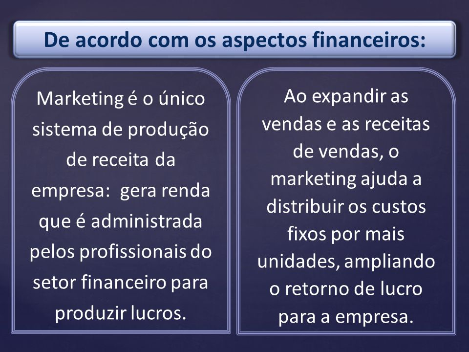 Marketing é o único sistema de produção de receita da empresa: gera renda que é administrada pelos profissionais do setor financeiro para produzir luc