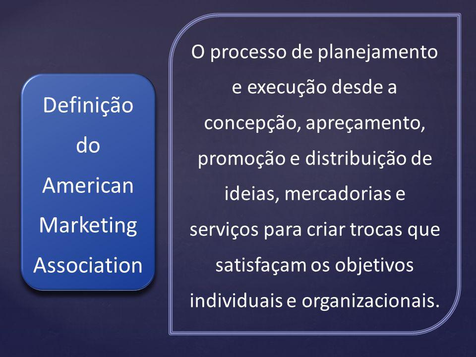 O processo de planejamento e execução desde a concepção, apreçamento, promoção e distribuição de ideias, mercadorias e serviços para criar trocas que satisfaçam os objetivos individuais e organizacionais.
