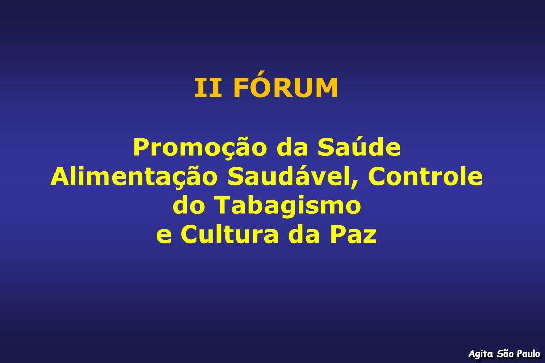 Agita São Paulo II FÓRUM Promoção da Saúde Alimentação Saudável, Controle do Tabagismo e Cultura da Paz