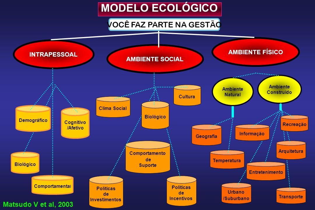 Comportamento de Suporte AMBIENTE SOCIAL INTRAPESSOAL Ambiente Construído Transporte Arquitetura Urbano /Suburbano Biológico Políticas de Investimento