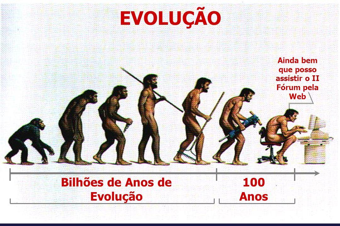 Ainda bem que posso assistir o II Fórum pela Web EVOLUÇÃO Bilhões de Anos de Evolução 100 Anos