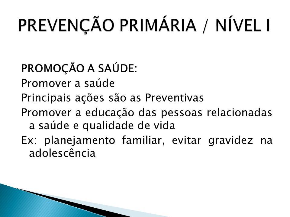 PROMOÇÃO A SAÚDE: Promover a saúde Principais ações são as Preventivas Promover a educação das pessoas relacionadas a saúde e qualidade de vida Ex: pl