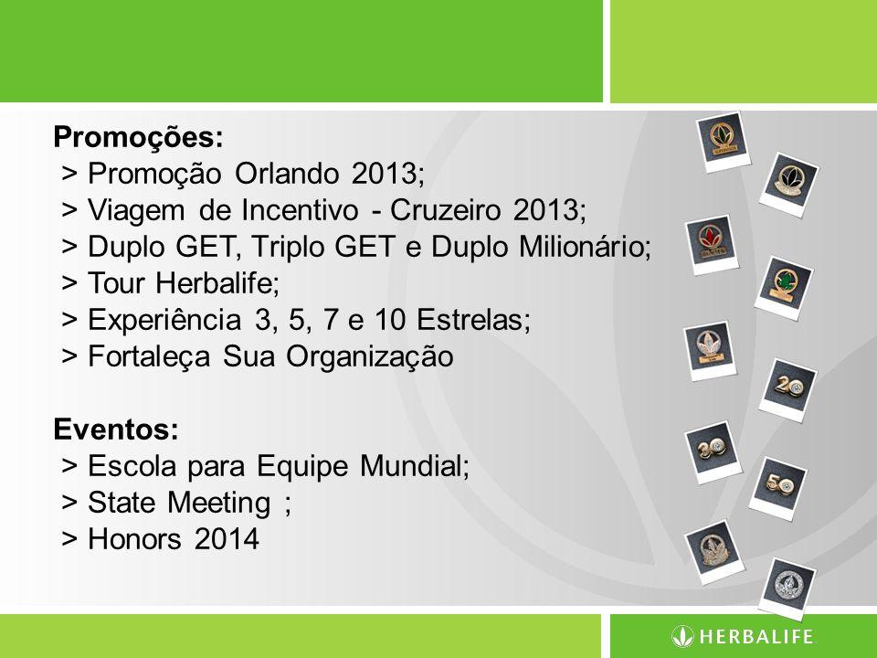 Promoções: > Promoção Orlando 2013; > Viagem de Incentivo - Cruzeiro 2013; > Duplo GET, Triplo GET e Duplo Milionário; > Tour Herbalife; > Experiência 3, 5, 7 e 10 Estrelas; > Fortaleça Sua Organização Eventos: > Escola para Equipe Mundial; > State Meeting ; > Honors 2014