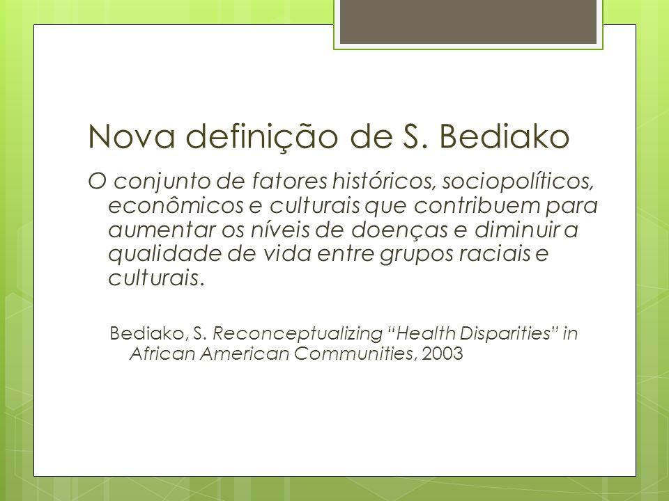 Nova definição de S. Bediako O conjunto de fatores históricos, sociopolíticos, econômicos e culturais que contribuem para aumentar os níveis de doença